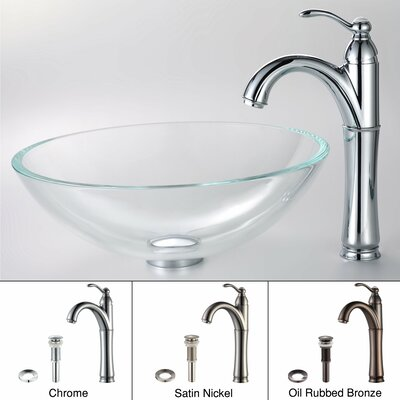 Kraus Crystal Clear Glass Vessel Sink and Riviera Faucet