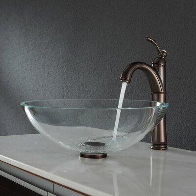 Kraus Crystal Clear Glass Vessel Sink with Pop Up Drain and Mounting Ring