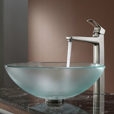 Kraus Frosted Glass Vessel Sink and Virtus Faucet