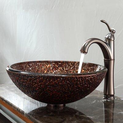 Venus Glass Vessel Sink and Riviera Faucet - C-GV-571-19mm-1005ORB