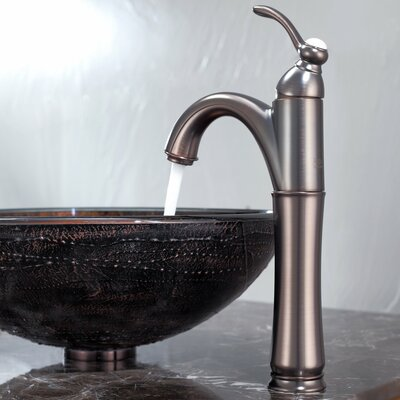 Kraus Copper Illusion Glass Vessel Bathroom Sink with Riviera Faucet