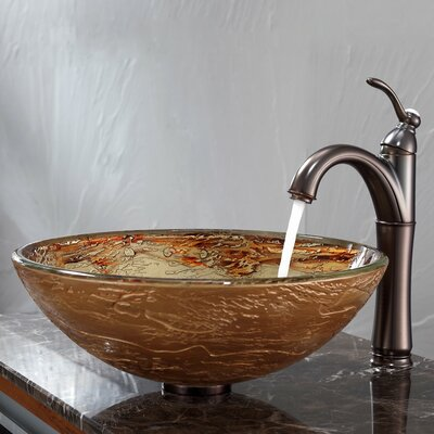 Kraus Ares Glass Vessel Sink and Riviera Faucet