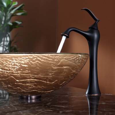 Kraus Ares Glass Vessel Sink and Ventus Faucet