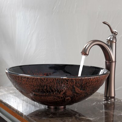 Kraus Lava Glass Vessel Sink and Riviera Faucet