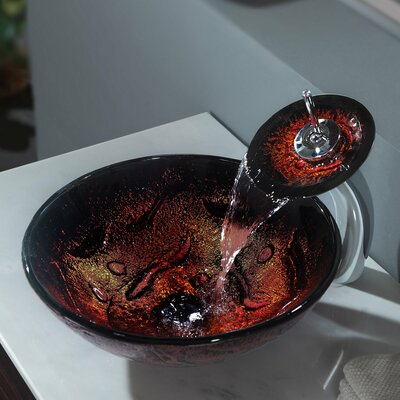 Kraus Lava Glass Vessel Sink  with Pop Up Drain and Mounting Ring