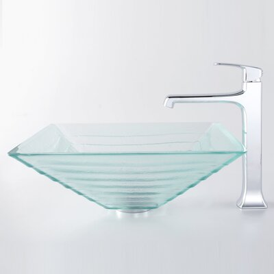 Kraus Decorum Alexandrite Glass Vessel Bathroom Sink and Faucet