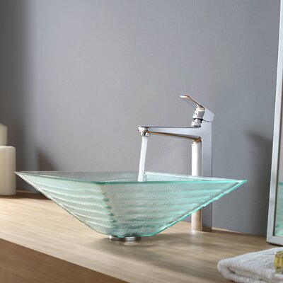 Kraus Alexandrite Glass Vessel Sink and Virtus Faucet