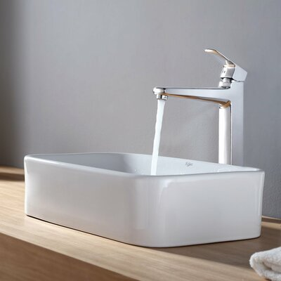 Kraus Virtus Rectangular Ceramic Bathroom Sink with Faucet