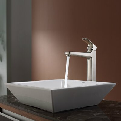 Kraus Virtus Square Ceramic Bathroom Sink with Faucet