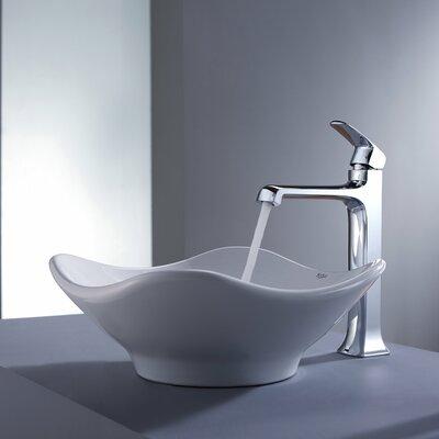Kraus Decorum Tulip Ceramic Bathroom Sink and Faucet