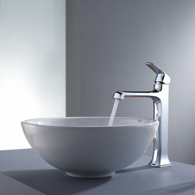 Decorum Round Ceramic Bathroom Sink and Faucet - C-KCV-141-15200CH