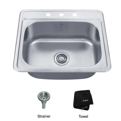 "Kraus 25"" x 22.4"" Topmount Single Bowl 18 Gauge Kitchen Sink"