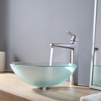 Frosted Glass Vessel Sink and Virtus Faucet - C-GV-101FR-12mm-15500