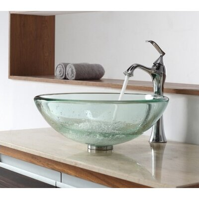 Clear Thick Glass Vessel Sink and Single Hole Faucet with Single Handle - C-GV-101-19mm-15000CH