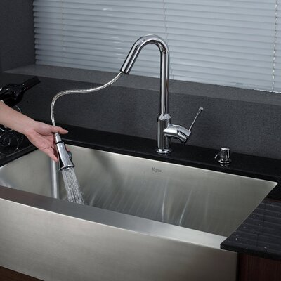 "Kraus 32.9"" x 20.75"" x 10"" Farmhouse Kitchen Sink with Faucet and Soap Dispenser"