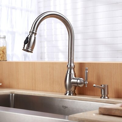 "Kraus 30"" x 20"" Farmhouse Kitchen Sink with Faucet and Soap Dispenser"