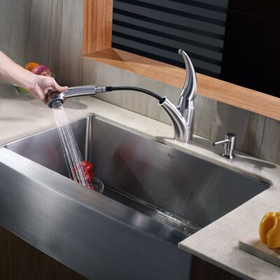 Farmhouse Kitchen Sink with Faucet and Soap Dispenser