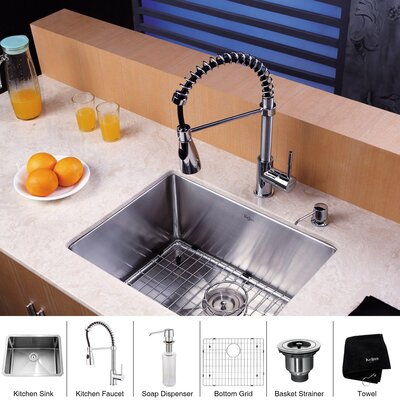 "Kraus 23"" x 18"" Undermount Kitchen Sink with Faucet and Soap Dispenser"