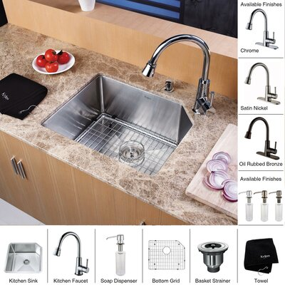 "Kraus 21"" x 16.75"" Undermount Single Bowl Kitchen Sink with Faucet and Soap Dispenser"