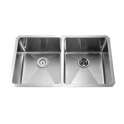 "Kraus 32.75"" x 19"" x 10"" Undermount Double Bowl 50/50 Kitchen Sink with Faucet and Soap Dispenser"