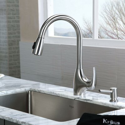 "Kraus 30"" x 18"" Undermount Single Bowl Kitchen Sink and Pull Out Faucet with Soap Dispenser"