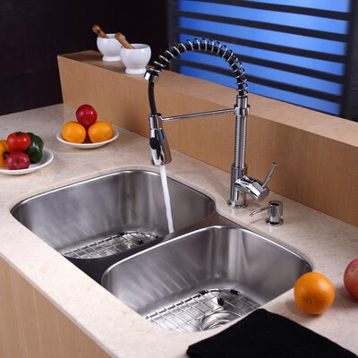 "Kraus 32"" x 20.75"" Undermount 60/40 Double Bowl Kitchen Sink Set"