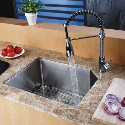 "Kraus 21"" x 16.75"" Undermount Kitchen Sink with Faucet and Soap Dispenser"