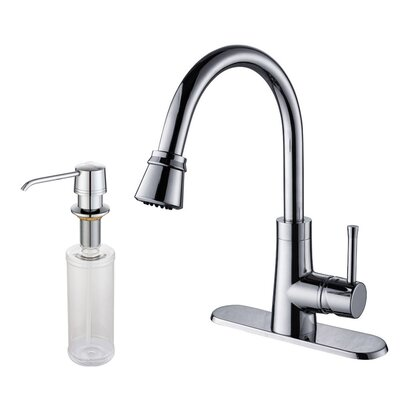 single hole kitchen faucet with soap dispenser and pull out spray