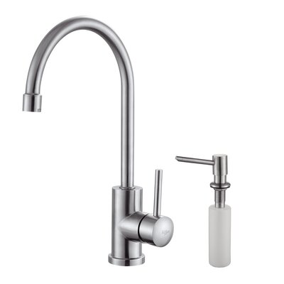 Kraus Single Handle Single Hole Kitchen Faucet with Lever Handle and Soap Dispenser