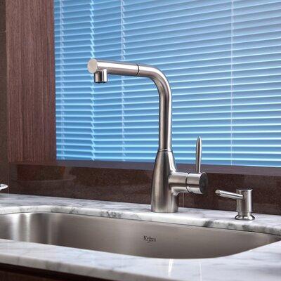 Kraus Single Handle Single Hole Kitchen Faucet with Soap Dispenser