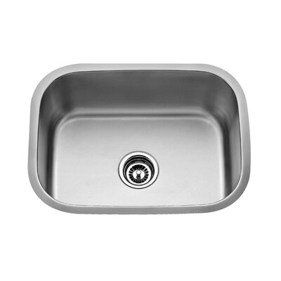 "Kraus Stainless Steel 23"" x 17.75"" Undermount Single Bowl Kitchen Sink with 14"" Kitchen Faucet and Soap Dispenser"