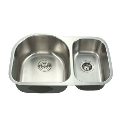 """Kraus 30"""" x 19.5"""" Undermount Double Bowl Kitchen Sink and Faucet with Soap Dispenser"""