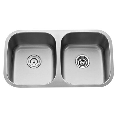 "Kraus 32.25"" x 18.5"" Undermount 50/50 Double Bowl Kitchen Sink with 18.5"" Faucet and Soap Dispenser"