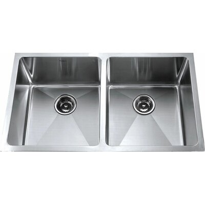 "Kraus 32.75"" x 19"" 6 Piece Undermount Double Bowl Kitchen Sink"
