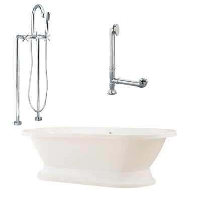 "Giagni Capri 67"" Tub in White with Floor Mount Faucet and Cross Handles in Polished Chrome"
