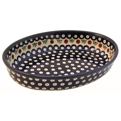 "Euroquest Imports Polish Pottery 11"" Oval Baking Pan - Pattern 41A"