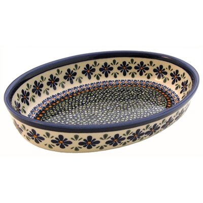Euroquest Imports Polish Pottery 11&quot; Oval Baking Pan - Pattern DU60