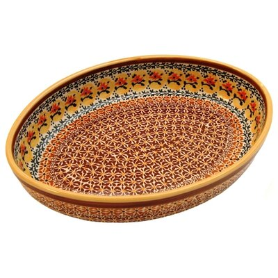 "Euroquest Imports Polish Pottery 12"" Oval Baking Pan - Pattern DU70"