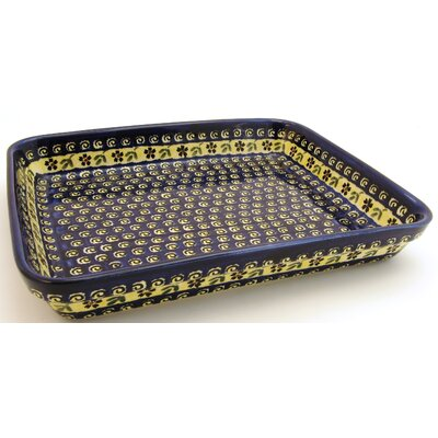 "Euroquest Imports Polish Pottery 13"" Rectangular Baking Pan - Pattern 175A"