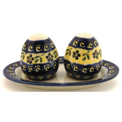 Euroquest Imports Polish Pottery Salt and Pepper Shaker Set - Pattern 175A