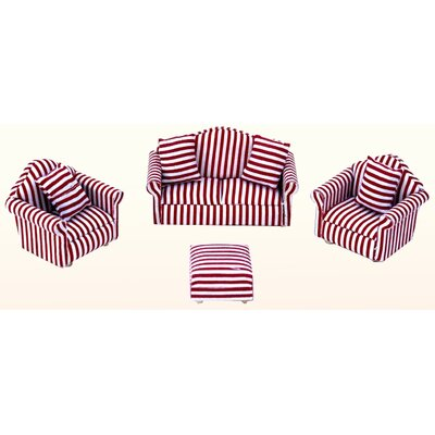Annie's Dolls House Lounge Suite in Striped Red