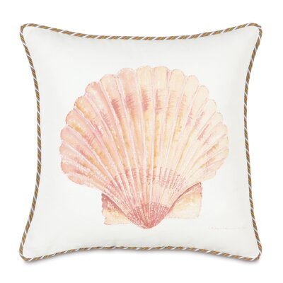 Caicos Polyester Hand-Painted Scallop Shell Decorative Pillow