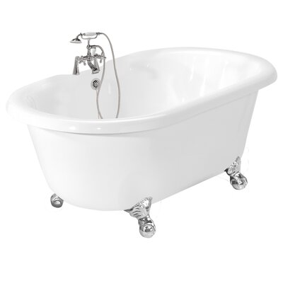 "American Bath Factory Celine 70"" x 32"" AcraStone Double Ended Champagne Massage Bathtub"