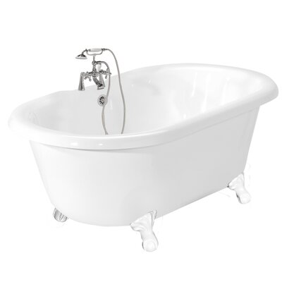 American Bath Factory Celine AcraStone Double Ended Champagne Massage Bath Tub Faucet Package 1 in White