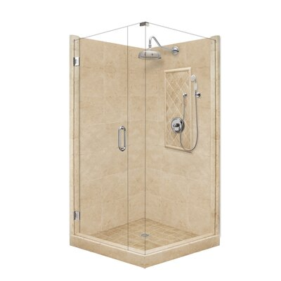 American Bath Factory Grand Pivot Door Front-and-Left Threshold Shower Enclosure