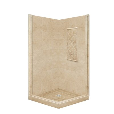 American Bath Factory Basic Pivot Door Front and Left Threshold Shower Base and Shower Wall