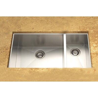 "Houzer Contempo 33"" x 18"" Zero Radius Undermount Double Bowl 70/30 Kitchen Sink"