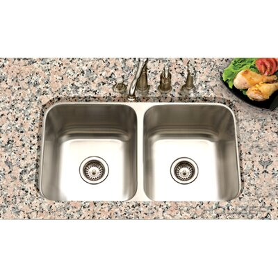 "Houzer Eston 31.25"" x 17.75"" Undermount 50/50 Double Bowl Kitchen Sink"