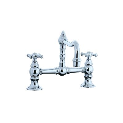 Cifial Highlands Double Handle Double Hole Bridge Faucet with Cross handle and Swivel Spout