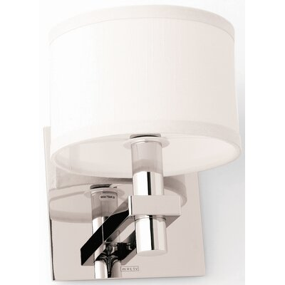 Motiv Frame One Light Wall Sconce with Fabric Shade in Satin Nickel